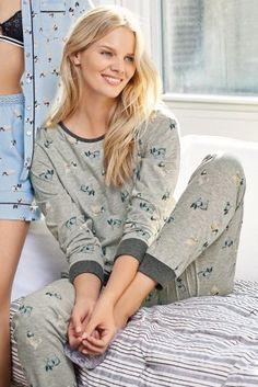 Grey Printed Pug Pyjamas