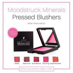 Our Mineral Blushers are now available in pressed form!! 5 gorgeous shades to choose from! Sweet is my favorite for cheeks and Stunning for the eyes and hair! Love how versatile Younique products are! www.FabuliciousLashes.com #younique #blusher #pressed #cheeks #eyes #hair #lips #nails #beauty #makeup