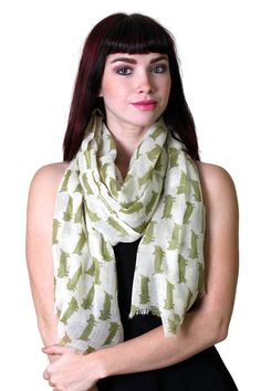 Perfect gift for cat and animal lovers, charming and stylish, great conversation starter.  Hand screen-printed sausage kitty cat design scarf in ivory