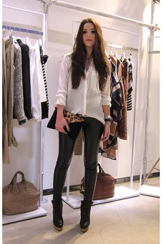 Sheer White Button Up Blouse + Leather Pants + Black Ankle Boots + Leopard Envelope Clutch