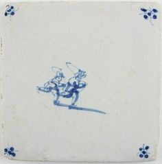 Antique Dutch Delft tile with two children playing with jumping ropes, 17th century
