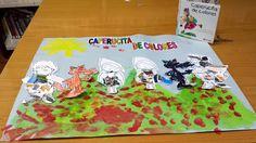 Caperucita de colores... cuentacuentos y mural realizado en collage, tempera y rotuladores