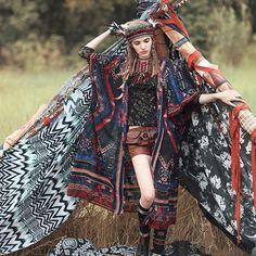 AS] Original Design 2015 summer women boho flare sleeves chiffon open stitch fashion A-line long sun shirt Bohemian Mode, Bohemian Lifestyle, Boho Gypsy, Hippie Boho, Bohemian Style, Boho Chic, Folk Fashion, Fashion Art, Trendy Fashion