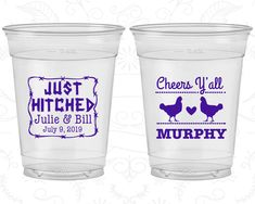 Cheers Yall Wedding, Printed Soft Sided Cups, Farm Wedding, Country Wedding, Just Hitched, Clear Cups (556)