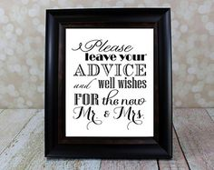 Well Wishes and Advice Table Sign. Mr. & Mrs., Bride and Groom Sign. Instant Download, Wedding Card DIY Printable File.