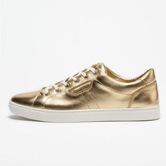 "- Dolce&Gabbana: London Sneaker in Metallic Leather - ""Gold"" Metallic Leather, Front Row, Trainers, Louis Vuitton, London, Sneakers, Gold, Men, Beautiful"