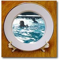 3dRose - Jos Fauxtographee Realistic - A cut out look of two children swimming in a pool - Plates