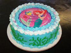 pastel de ariel sirenita caricatura pelirroja