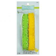 Green and Yellow Ruffled Elastic | Babyville Boutique™