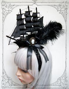 Pirate Ship Headdress  Fascinator Goth Baroque by BlackUnicornShop, €79.00