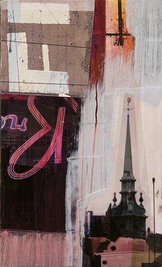 """""""Fragments 9"""" - Jon Measures - Mixed media, 4.75"""" x 8"""" - $110"""