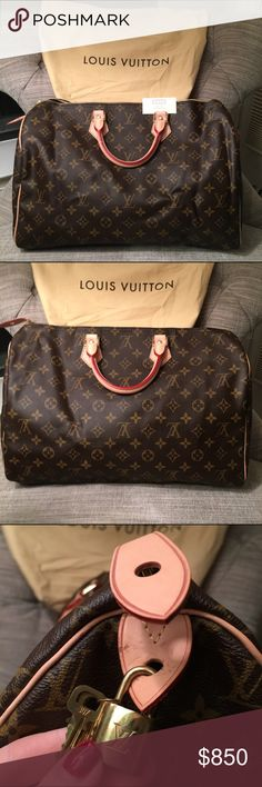 Authentic Louis Vuitton Monogram Canvas Speedy 35! This Louis Vuitton Speedy 35 Monogram Canvas bag is gorgeous and has never been used!!! Like new condition with only minor scuffs on leather tab near lock and keys. 13.8 x 9.1 x 7.1 inches. Comes with authentic Louis Vuitton dust bag (smaller size but the bag still fits nicely) and material description card. No trades considered, serious offers only please! From early 2000s. Date code: AA1067. Made in France. Please see two other listings…