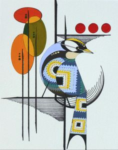 Mod Retro original bird painting mid century by COLBYandFRIENDS