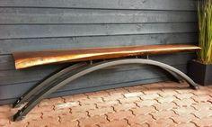 Custom Made Hand Forged Live Edge Walnut Zen Bench With Steel Legs Live Edge Furniture, Tree Furniture, Diy Outdoor Furniture, Metal Furniture, Wrought Iron Bench, Blacksmith Projects, Modern Farmhouse Decor, Wood Slab, Wood Beams