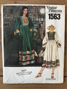 UNCUT Vintage 1970's Caftan Dress Sewing Pattern Vogue