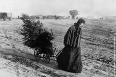 A woman returns home with a Christmas tree, 1895. (Photo by Otto Haeckel/Getty Images).