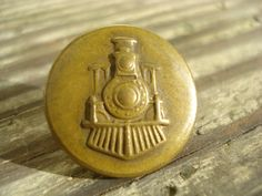 Antique Brass Button Railroad Locomotive Steam Train Uniform Steel Shank