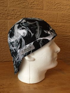 Black Smoke hard hat beanie cap welder construction tradesman surgeon by UtilityCharm on Etsy