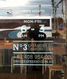 trading hours, door decal, gauge espresso, cafe signage, by caramel creative