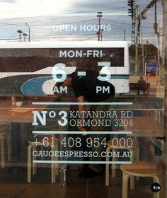 trading hours, door decal, gauge espresso, cafe signage, by caramel creative