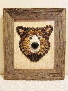 Big Brown Bear Made of Buttons on Birch Bark in Barn by niknakia, $55.00