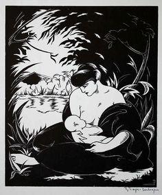 Pajer-Gartegen, Robert (1886 Wien 1944). Ruhe am See. Holzschnitt auf Ingres Viribus Inats, (1931).