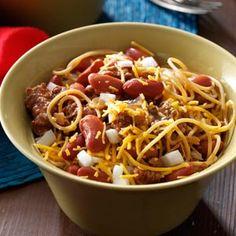 Cincinnati-Style Chili Recipe - has ingredients like unsweetened chocolate, cinnamon, allspice, cloves... sounds interesting!