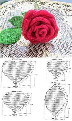 Free crochet pattern with tutorial this project belongs to very easy slowly step by step with written instructions you will crochet your own cozy rose crochetgifts – Artofit Crochet Leaf Patterns, Embroidery Flowers Pattern, Crochet Leaves, Thread Crochet, Crochet Motif, Crochet Designs, Crochet Flower Scarf, Crochet Flower Tutorial, Crochet Flowers