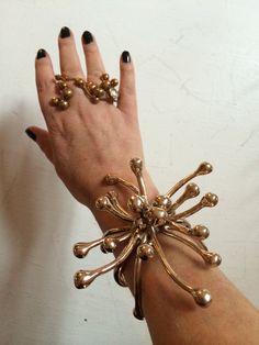 Bracelet bronze big Pistilli for Antonio Marras by Monica Castiglioni