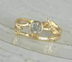 Diamond Branch Engagement Ring,14k Gold and Natural Silver Diamond