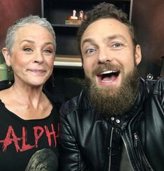 """Melissa & Ross after """"Ghosts"""" Walking Dead Season 9, Walking Dead Zombies, Fear The Walking Dead, Melissa Suzanne Mcbride, Ross Marquand, Talking To The Dead, Smiles And Laughs, Daryl Dixon, Norman Reedus"""