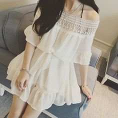 "Sweet dew shoulder lace dress Coupon code ""cutekawaii"" for 10% off"