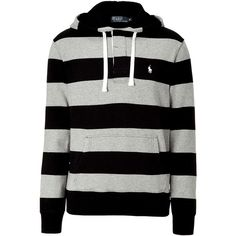 POLO RALPH LAUREN Black And Dark Heather Striped Hooded Sweatshirt (1.820 ARS) ❤ liked on Polyvore featuring men's fashion, men's clothing, men's hoodies, hoodies, tops, jackets, shirts, sweaters, mens hoodies and mens polo hoodies