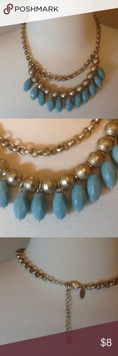 Lia Sophia necklace 2 strand necklace, muted gold with grayish green beads. Will go great with all the browns and creams of fall and corals and pinks of spring.3.5 inch extender, whole length is 20 inches. Lia Sophia Jewelry Necklaces
