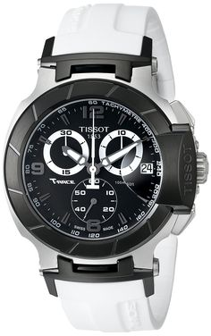 Amazon.com: Tissot Men's T0484172705705 T-Race Black Chronograph Dial White Rubber Strap Watch: Tissot: Watches