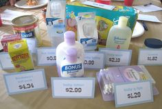 """The Price is Right"" baby shower game. Buy ten baby items, and the guests must guess the price without going over. Closest to the actual price, gets a point."