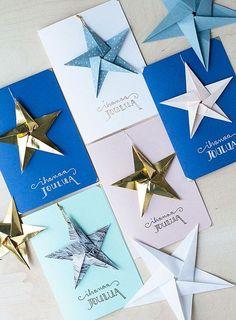 Bambula's Xmas cards with origami star. Chrismas Cards, Xmas Cards, Diy Cards, Christmas Origami, Christmas Art, Origami Cards, Beautiful Christmas Cards, Christmas Feeling, Navidad Diy