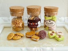 Miniatur essen Kekse Cookies Kekse, Glas Cookie Jar Kanister, Küche, 1/6, 1:4, Blythe Barbie Gene Msd Bjd Doll Playscale Fake Food