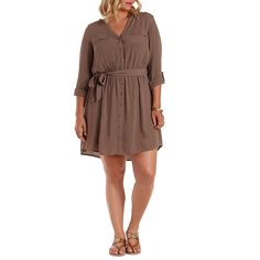Plus Size Crepe Shirt Dress