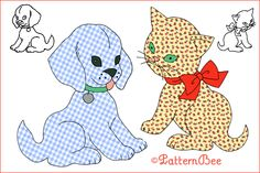 How I love this nursery rhyme!  GINGHAM PUP & CALICO CAT #2453