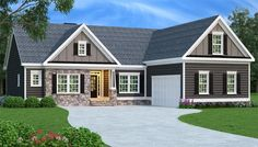 Spacious and functional, this Ranch style home features bonus space overhead and… Basement House Plans, Ranch House Plans, Craftsman House Plans, Craftsman Style, Basement Bedrooms, House Plans One Story, Story House, Small House Plans, Style At Home