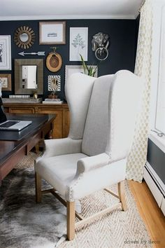House Tour: Home Office Office Chair Ideas of Office Chair An upholstered wingback chair works as a desk chair in our home office sources for the chair and the rest of this space in post! - Office Chair - Ideas of Office Chair Living Room Chairs, Home Office Chairs, Furniture, Cheap Office Furniture, Cheap Office Chairs, Wingback Chair, Home Office Decor, Cozy Home Office, Furniture Chair