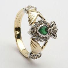 irish claddagh rings - w/emeral stone & diamonds