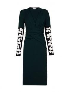 'Alison Embroidered' Tourmaline Long Sleeve Pencil Skirt Wrap Dress