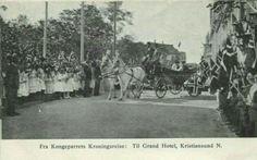 Møre og Romsdal fylke Kristiansund. Kongeparrets Kroningsreise. Til Grand Hotel. Utg A.J.K. Stemplet 1808