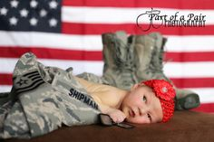 Military baby - boots dog tags newborn girl