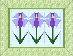 Purple Iris Paper Pieced Quilt Block Pattern