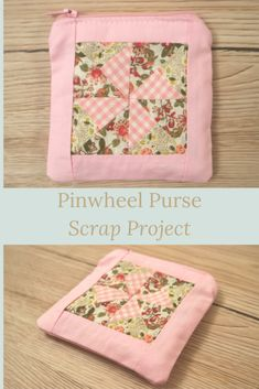 If you're looking for a scrap project, or if you like quilt blocks but you don't want to make a quilt, this pinwheel purse scrap project is just the thing. Clear, step by step instructions, plenty of pictures and a free pattern to download. Sewing Hacks, Sewing Tutorials, Zip Face, Pinwheel Quilt, Purse Patterns, Craft Kits, Pinwheels, Free Sewing, Fabric Scraps
