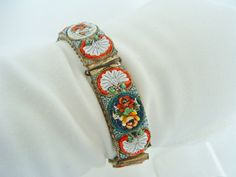 Vintage Micro Mosaic Floral Bracelet  Italy by CarriersCozyCottage, $65.00