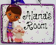 5x7 Doc McStuffins & Lambie PERSONALIZED NAME Room Door SIGN Wood Plaque (W)